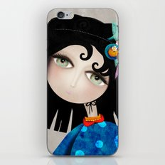 Black Hair Huge Green Eyes iPhone & iPod Skin