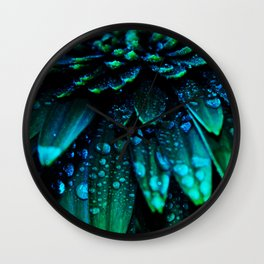 flower - midnight blue Wall Clock