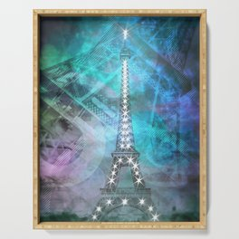 Illuminated Pop Art Eiffel Tower | Graphic Style Serving Tray