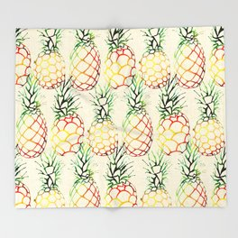 Burlap Pineapples Throw Blanket