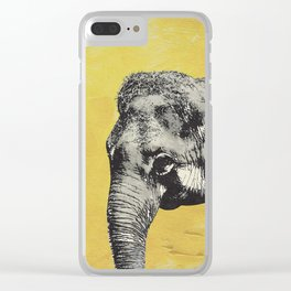 Elephant on yellow Clear iPhone Case