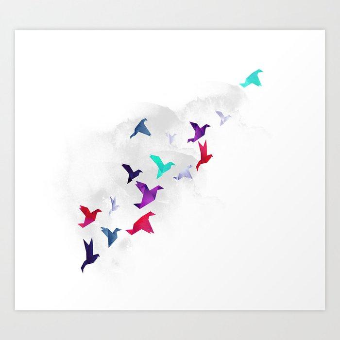 Paper birds Art Print