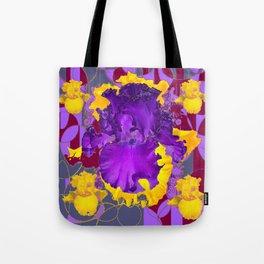 Amethyst Purple Iris Geometric lilac & Grey Patterns Tote Bag