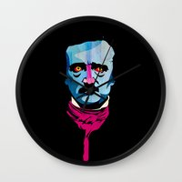 poe Wall Clocks featuring Poe by Alvaro Tapia Hidalgo