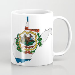 West Virginia Map with State Flag Coffee Mug