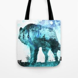 Double Exposure Wolf / Full Moon Wolves / Dark Forest Witch / Galaxy Space Wolf Tote Bag