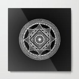 Abstract Mandala white Metal Print