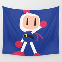 nintendo Wall Tapestries featuring Bomberman - Minimalist - Nintendo by Ese51