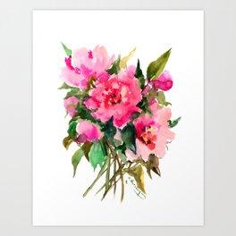 Peony Flowers, pink floral design Art Print