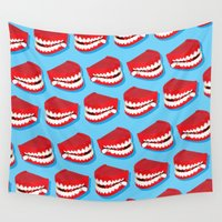 teeth Wall Tapestries featuring Chattering teeth by very giorgious