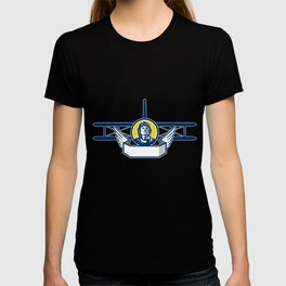 World War One Pilot Head Biplane Circle Retro T-shirt