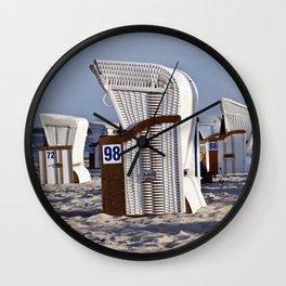 White Beachchairs - Isle Ruegen Wall Clock