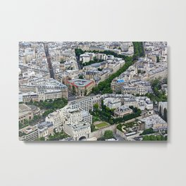 Paris France Aerial View Metal Print
