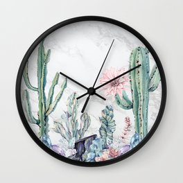 Desert Gemstone Oasis Marble Black and White Wall Clock
