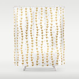 Gold Trailing Hearts Shower Curtain