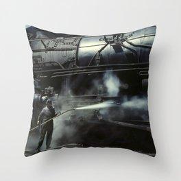 Locomotive Gets A Steam Bath - 1943 Throw Pillow
