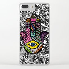 Colorful Hand Drawn Hamsa Hand an Floral Drawings Clear iPhone Case