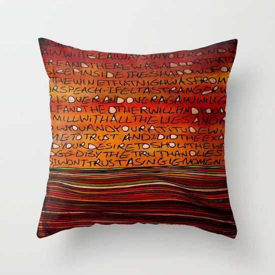 LINE AND WORDS -1 in color Throw Pillow