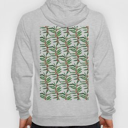 Forest green red watercolor hand painted berries leaves Hoody