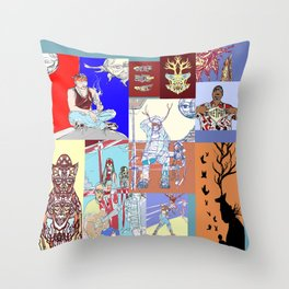 Waiting At The Aztlan Bus Stop Somewhere In The East Los Universe Throw Pillow