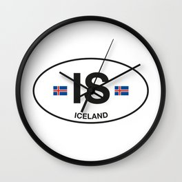 Iceland Country Code Wall Clock
