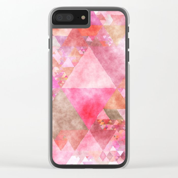 Triangles in pink - Watercolor Illustration pattern Clear iPhone Case