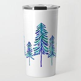 Pine Trees – Navy & Turquoise Palette Travel Mug