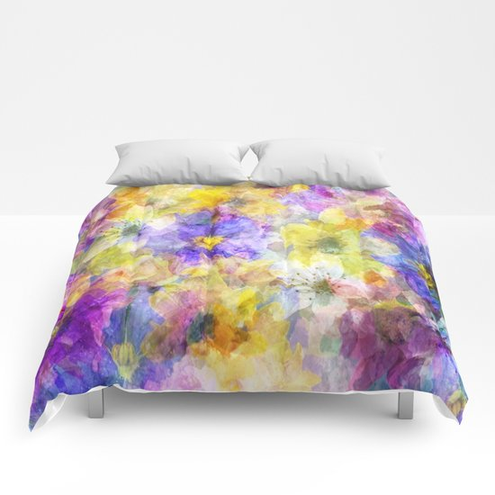 Multicolor Painterly Floral Abstract Comforters