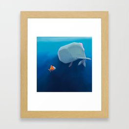 The little sperm whale and the fish Framed Art Print
