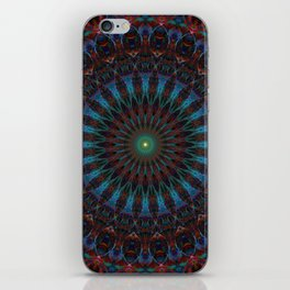 Glowing blue mandala with red ornaments iPhone Skin