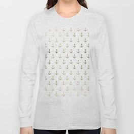Elegant nautical faux gold white modern anchor Long Sleeve T-shirt