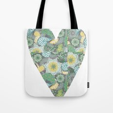 Green Patterned Heart Tote Bag