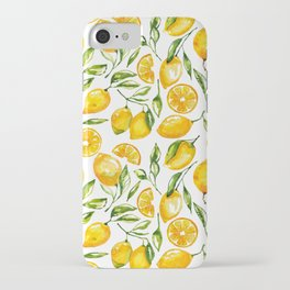lemon watercolor print iPhone Case