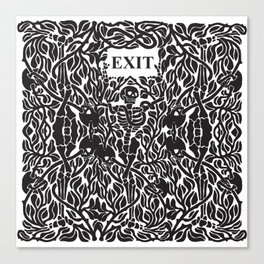 Skulls and Skeletons - Exit Sign Canvas Print