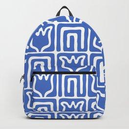 Mid Century Flower Garden Pattern 381 Blue Backpack