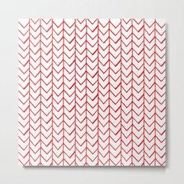Herringbone Red Metal Print