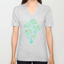 Bonsai Tree – Mint & Gold Unisex V-Neck