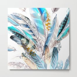 Cosmic Feathers Metal Print