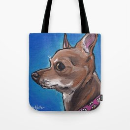 Cute Chihuahua Art, Chihuahua Pet Painting Tote Bag