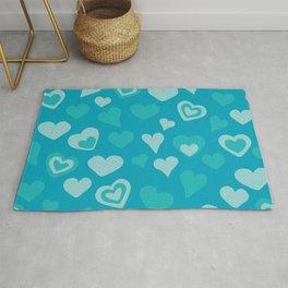 Turquoise sweet love hearts  Rug