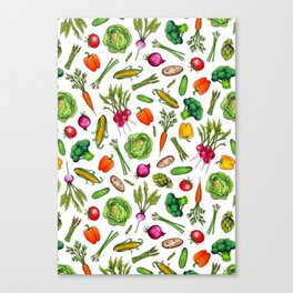 Vegetable Garden - Summer Pattern With Colorful Veggies Canvas Print