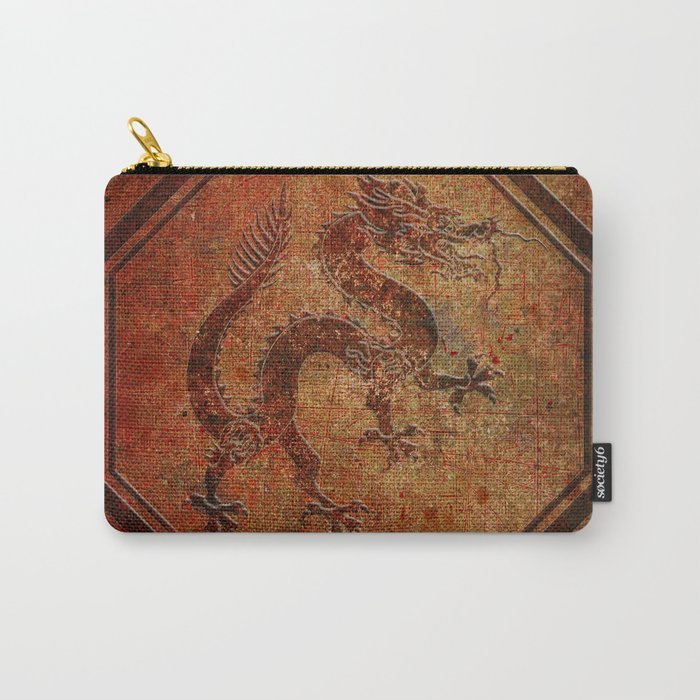 Distressed Chinese Dragon In Octagon Frame Carry-All Pouch