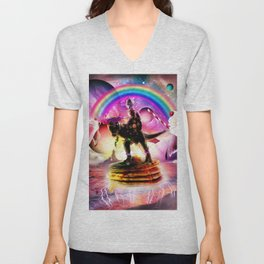Cat Riding Dinosaur With Pancakes And Milkshake Unisex V-Neck