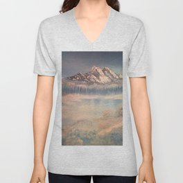 Icy tranquility - Cabin by the pond Unisex V-Neck