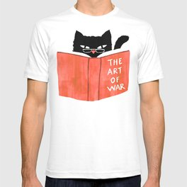 Cat reading book T-shirt