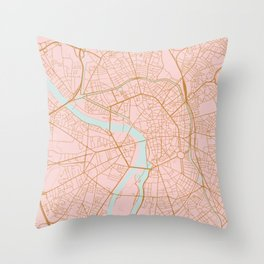 Pink and gold Toulouse map, France Throw Pillow