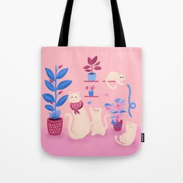Grumpy mom and mischievous kittens Tote Bag