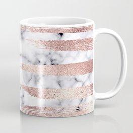 Modern Chic Rose Gold Brushstrokes Marble Coffee Mug