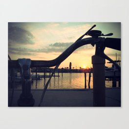 2 wheels to sunset Canvas Print