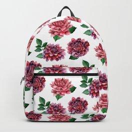 Dahlias. Watercolor flowers illustration. Red floral pattern. Botanical art. Сhrysanthemum Backpack